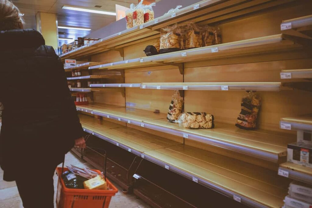 COVID panic buying empty shelves in grocery